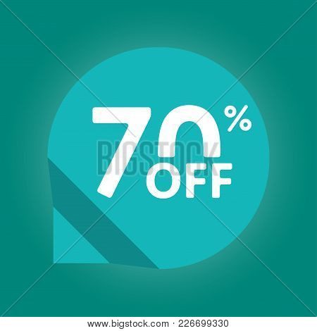 70% Off. Sale And Discount Tag With 70 Percent Price Off Icon. Vector Illustration.
