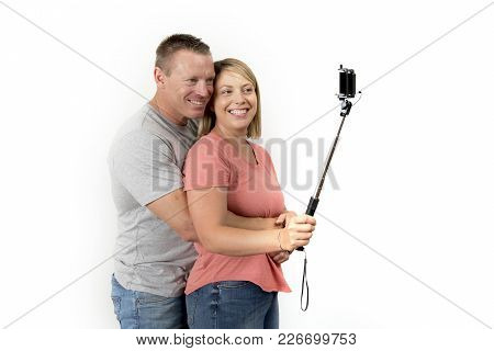 Young Beautiful Happy And Attractive Romantic Couple With Husband And Wife Or Girlfriend And Boyfrie