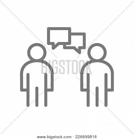 Simple People Talking Line Icon. Symbol And Sign Vector Illustration Design. Isolated On White Backg