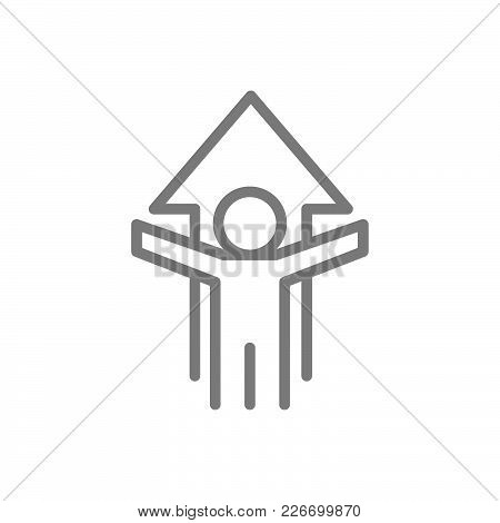 Simple Man With Arrow, Growth, Success Line Icon. Symbol And Sign Vector Illustration Design. Isolat