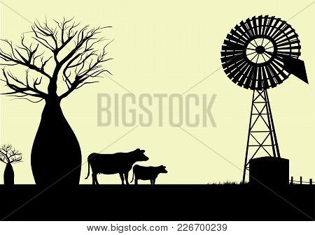 Wind Mill  Boab Trees And Cows Silhouette With Yellow Background