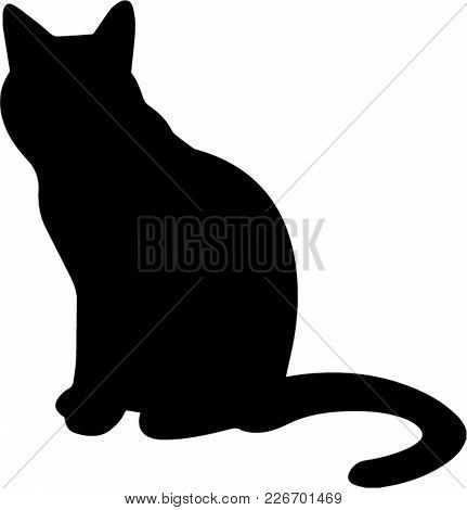 Silhouette Of Sitting Black Cat  Isolated On White Background. Vector Illustration, Icon, Clip Art.