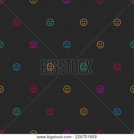 Black Banner With Tiny Smiley. Seamless Pattern With Emoticons. Positive Yellow Background, Print, P