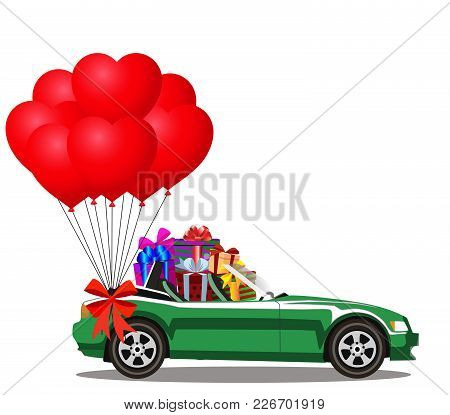 Green Modern Opened Cartoon Cabriolet Car Full Of Gift Boxes And Bunch Of Red Helium Heart Shaped Ba