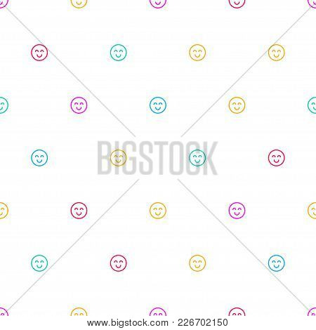 White Banner With Tiny Smiley. Seamless Pattern With Emoticons. Positive Yellow Background, Print, P