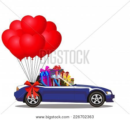 Dark Blue Modern Opened Cartoon Cabriolet Car Full Of Gifts And Bunch Of Red Helium Heart Shaped Bal