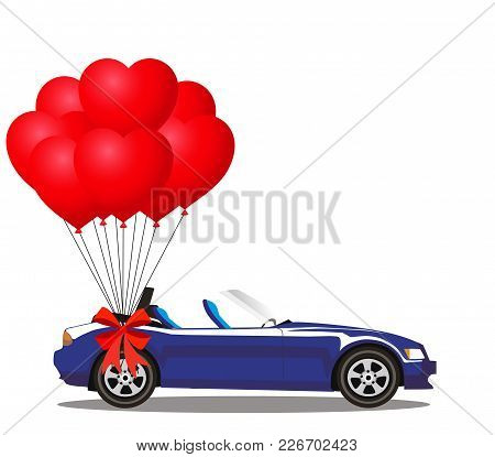 Dark Blue Modern Opened Cartoon Cabriolet Car With Bunch Of Red Helium Heart Shaped Balloons With Fe