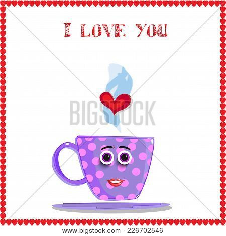 I Love You Card With Cute Lilac Mug With Girl's Face