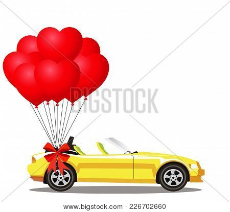 Yellow Modern Opened Cartoon Cabriolet Car With Bunch Of Red Helium Heart Shaped Balloons With Festi