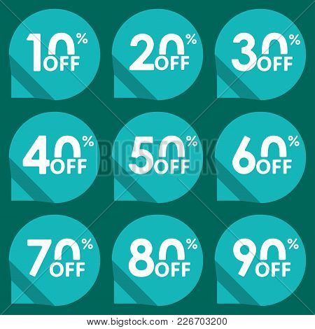 Sale Tag Set. 10,20,30,40,50,60,70,80,90 Percent Off. Price Off And Discount Tag Design Elements. Ve