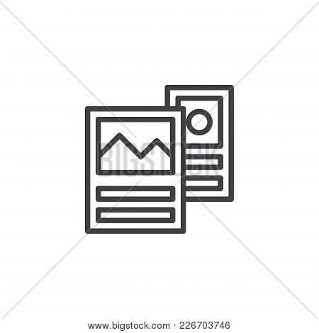 Travel Brochure Guide Outline Icon. Linear Style Sign For Mobile Concept And Web Design. Flyer Simpl