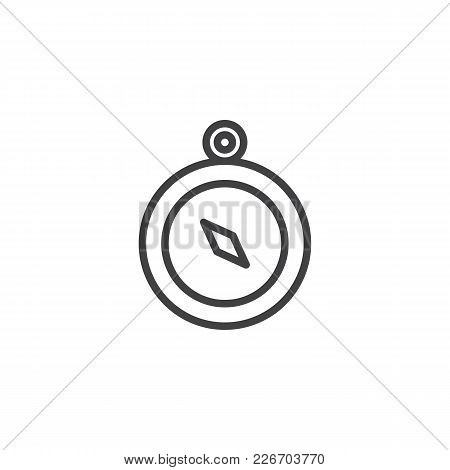 Compass Outline Icon. Linear Style Sign For Mobile Concept And Web Design. Navigation Simple Line Ve