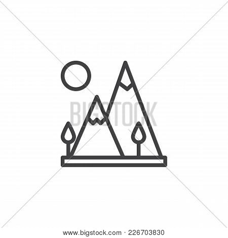 Mountain Landscape Outline Icon. Linear Style Sign For Mobile Concept And Web Design. Travel Simple