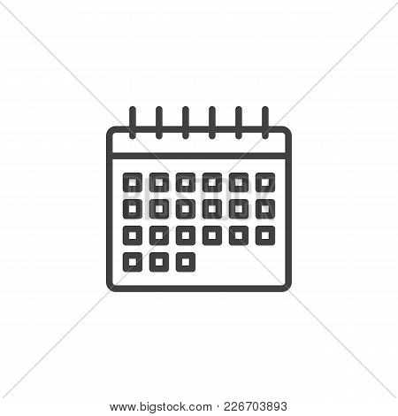 Calendar Outline Icon. Linear Style Sign For Mobile Concept And Web Design. Event Reminder Simple Li
