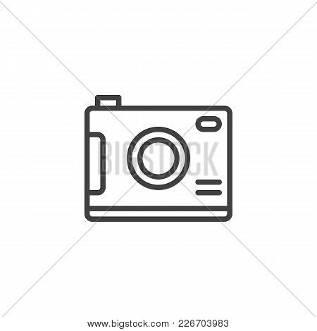 Digital Camera Outline Icon. Linear Style Sign For Mobile Concept And Web Design. Photo Simple Line