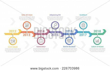 Timeline Infographics Template With Arrows, Workflow Or Process Diagram, Can Be Used As Steps Or Opt