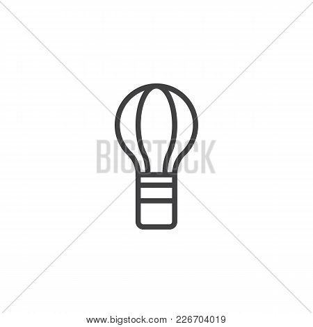 Hot Air Balloon Outline Icon. Linear Style Sign For Mobile Concept And Web Design. Balloon Flying Si