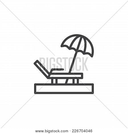 Parasol Beach Outline Icon. Linear Style Sign For Mobile Concept And Web Design. Chaise Longue Simpl