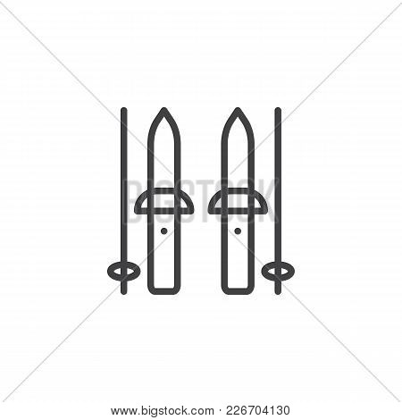 Ski And Sticks Outline Icon. Linear Style Sign For Mobile Concept And Web Design. Winter Sports Equi