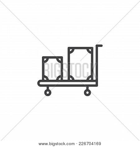 Hotel Trolley With Luggage Outline Icon. Linear Style Sign For Mobile Concept And Web Design. Luggag
