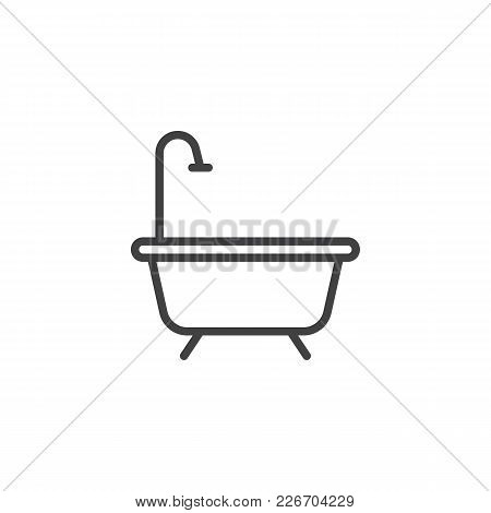 Bathtub Outline Icon. Linear Style Sign For Mobile Concept And Web Design. Shower Simple Line Vector