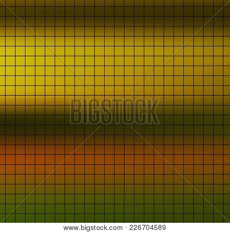 Black Square Grid On Colorful Saturated Yellow Orange Green Striped Background. Quick Note Grid Desi