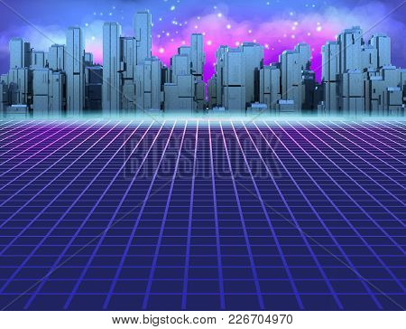 80s Retro Sci-fi Background With Futuristic City. Synth Retro Wave Illustration In 1980s Posters Sty