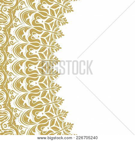 Oriental Vector Pattern With Golden Arabesques And Floral Elements. Traditional Classic Ornament. Vi