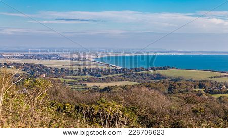 View Towards Rye Harbour And Dungeness From Hastings Country Park, East Sussex, Uk