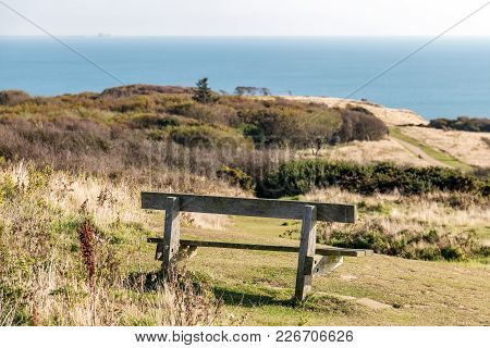 Bench And Seaview At Hastings Country Park, East Sussex, Uk