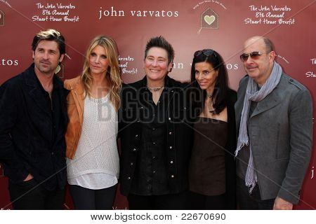 LOS ANGELES - MAR 13: (L-R) Patrick Dempsey, wife Jillian Dempsey, K.D. Lang, Joyce Varvatos, John Varvatos at the John Varvatos 8th Annual Stuart House Benefit on March 13, 2011 in Los Angeles, CA