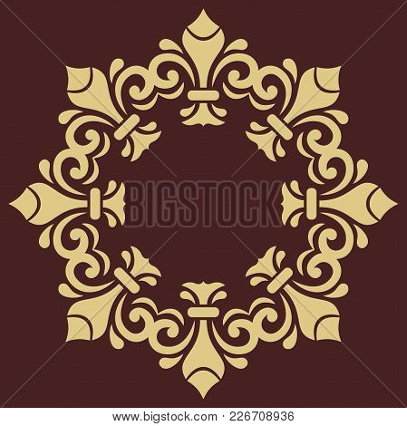 Oriental Vector Round Golden Pattern With Arabesques And Floral Elements. Traditional Classic Orname