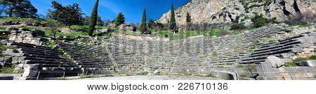 Ruins Of The Ancient Temple Of Apollo At Delphi, Greece