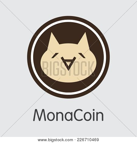 Monacoin Finance. Cryptocurrency - Vector Coin Symbol. Modern Computer Network Technology Trading Si