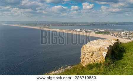 View From The South West Coast Path  Towards Fortuneswell And Chesil Beach, Isle Of Portland, Jurass