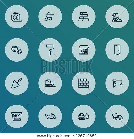 Building Icons Line Style Set With Painting Bucket, Stair, Home And Other House Elements. Isolated V