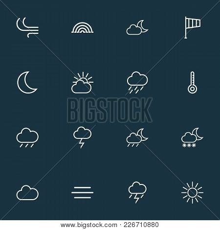 Climate Icons Line Style Set With Arc, Nigth, Wind And Other Cloud Sky Elements. Isolated Vector Ill