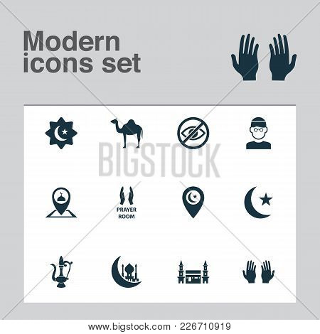 Ramadan Icons Set With Camel, Believer, Place And Other Animal  Elements. Isolated Vector Illustrati