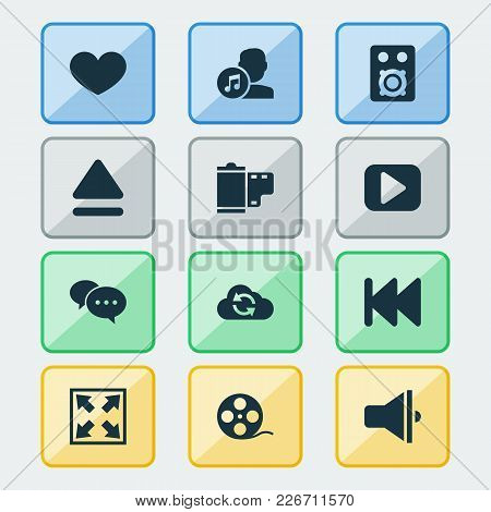 Multimedia Icons Set With Eject, Film, Comment And Other Photo Elements. Isolated Vector Illustratio