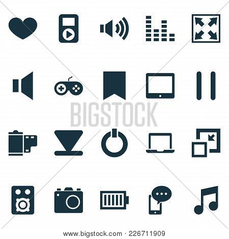 Multimedia Icons Set With Laptop, Mute, Start And Other Stop Elements. Isolated Vector Illustration