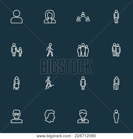 Human Icons Line Style Set With Stairs, Old, Clever And Other Graybeard Elements. Isolated Vector Il