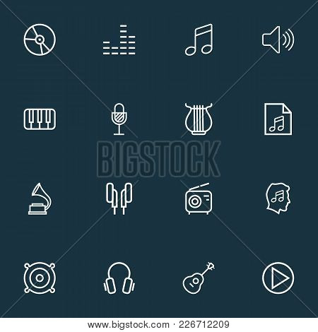 Multimedia Icons Line Style Set With Headphones, Equalizer, Keys And Other Earphones Elements. Isola