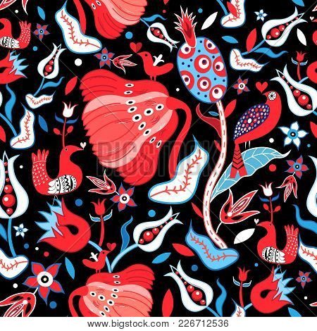 Seamless Floral Pattern With Enamored Birds On A Dark Background