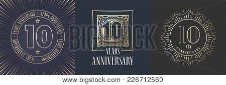 10 Years Anniversary Vector Icon, Logo Set. Graphic Round Gold Color Design Elements For 10th Annive