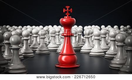 Red Chess King Standing Among White Pawns. 3d Illustration.