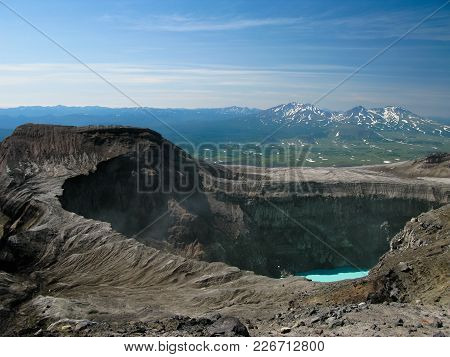 Crater Lake In Gorely Volcano At Kamchatka Peninsula, Russia