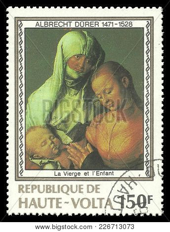 Upper Volta - Circa 1978: Stamp Printed By Upper Volta, Color Edition On Art, Shows Painting Madonna