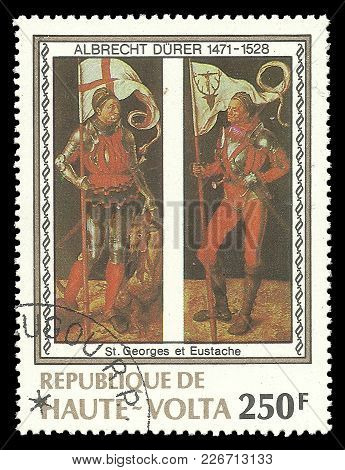 Upper Volta - Circa 1978: Stamp Printed By Upper Volta, Color Edition On Art, Shows Painting George