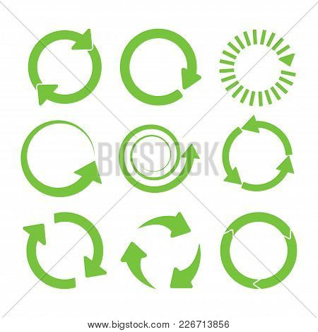 Green Round Recycle Icons Set. Vector Illustration