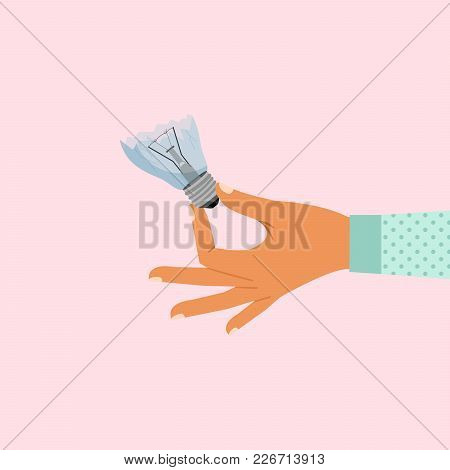 Woman Hand Holding Broken Light Bulb Vector Illustration
